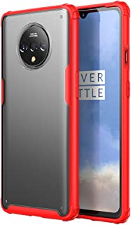 Muntonski 7T Case Clear Compatible with Oneplus 7t Cover Transparent Slim Thin Cases One Plus 1plus 7tcase Oneus Oneplus7t 6.55 Inch (Red)