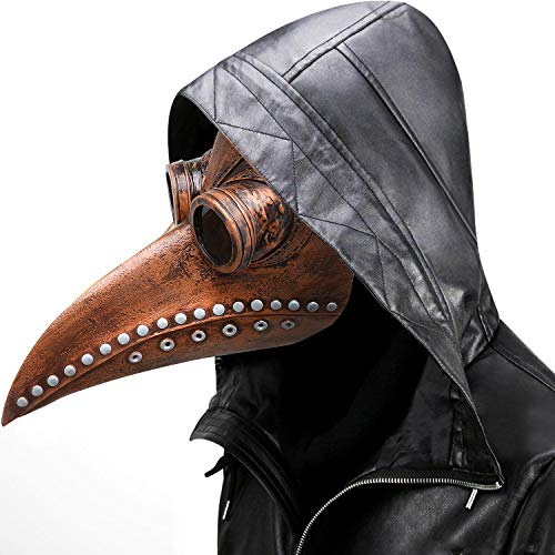 Plague Doctor Mask - Long Nose Bird Beak Steampunk Halloween Costume Props Mask (Gold)