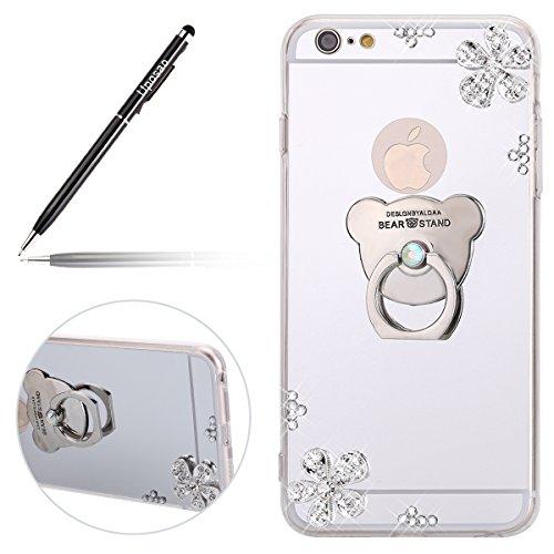 Uposao Miroir Coque iPhone 6S Plus Paillette Coque en Silicone Étui Housse Bling Glitter Briller Diamant Effet Miroir Clear View Our Bague Support Téléphone Coque Etui pour iPhone 6S Plus,Argent