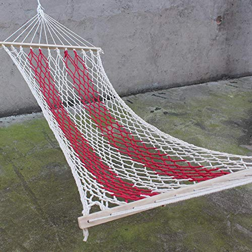 kiss me Double Rope Striped Hammock with Metal Frame Stand, Lazy daze Hammock Lounge Chair, Outdoor Hanging Swing Hammock Garden Patio (Red)
