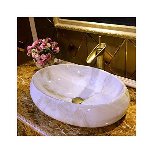 QWERTY Home Moderne Marmor Waschbecken Aufsatzbecken for Garderobe Badezimmer, Oval 24x16inch, Hahn Nicht Eingeschlossen Kunst über dem Aufsatzbecken (Size : 24x16inch)