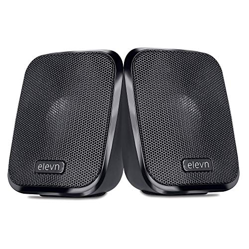 elevn max 2.0 USB Powered Computer Multimedia Speakers with AUX and in-line Volume Controller (Black)