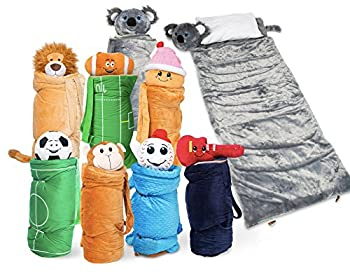 BuddyBagz Koala Super Fun & Unique Sleeping Bag/Overnight & Travel Kit for Kids All in 1 Traveling-Made-Easy Solution Complete with Stuffed Animal Pillow Sleeping Bag & Overnight Bag