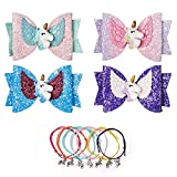 Unicorn Bow Hair Clips For Girls 4PCS 3.5inch Girls Hair Accessories with Unicorn Glitter Boutique Hairpin with Unicorn,AMind