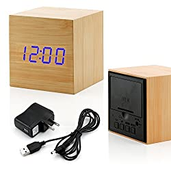 GEARONIC TM Wooden Alarm Clock Wood LED Square Cube Digital Thermometer Timer Calendar Brighter LED - Bamboo