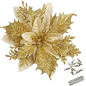 Greentime 12 Pcs 14cm / 5.5in Poinsettia Artificial Christmas Flowers with Clips and Stems Glitter Christmas Tree Ornaments for Xmas Wedding Party Wreath Decor