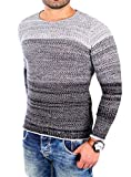Reslad Männer Pullover Herren Jungen Feinstrickpullover Strick Pulli farbig bunt meliert dünner Warmer RS-3106 Schwarz L