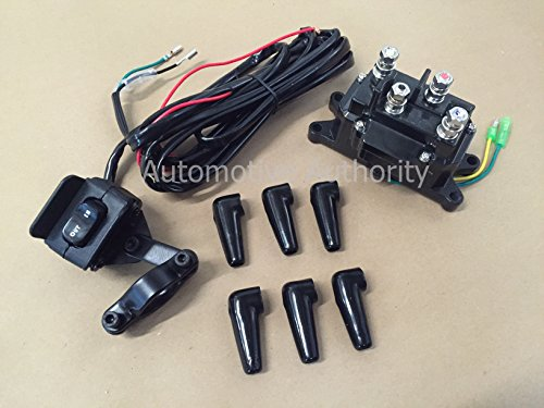 Autmotive Authority 12V Solenoid Relay Contactor & Winch Rocker Thumb Switch Combo for ATV UTV