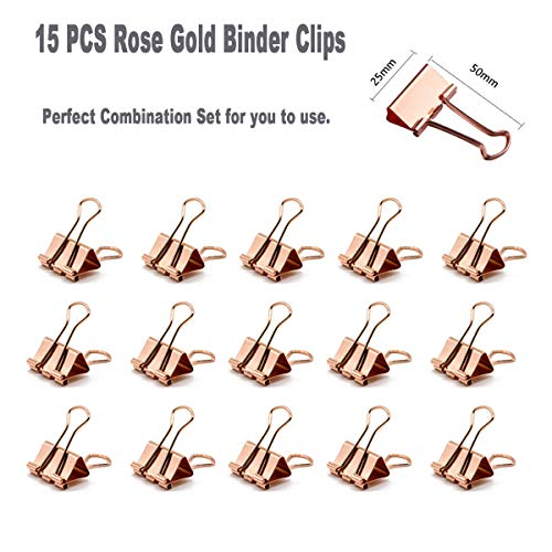 Rose Gold Desk Accessories Set - Transparent Rose Gold Acrylic Desktop Stapler with 1000 PCS Rose Gold Staples and 15 Pieces Blinder Clips for Home School Office Supplies Stationery Desk Accessory Photo #4