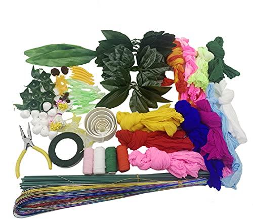 Foyoram Juego de 8 colores de 60 cm de nailon, incluye herramientas de seda, paquetes de material de flores para hacer flores, accesorios hechos a mano, decoración de boda