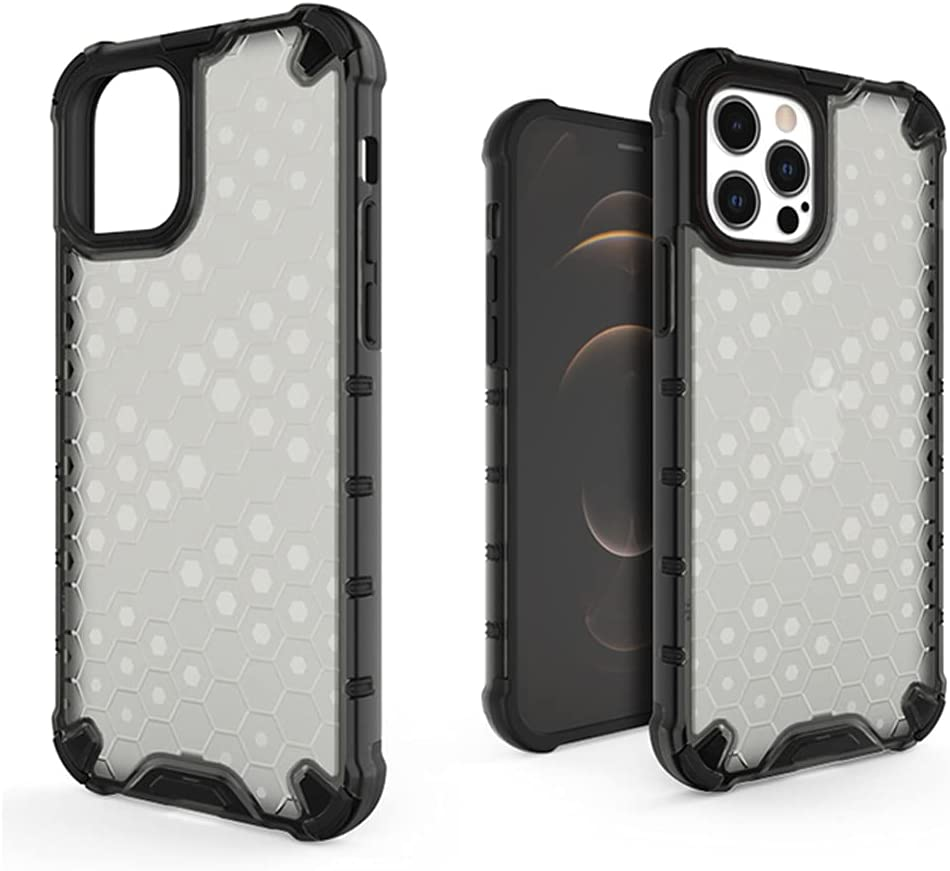 SUPARDS Hybrid Bumper Case Compatible with iPhone 12 Pro Max, for iPhone 12 Pro Max(6.7inch) Protective Case Cover, Shockproof Case with Soft Bumper(PC+TPU) for iPhone 12 Pro Max(A_Black)