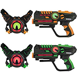 powerful ArmoGear Infrared Laser Weapons and Vests-Laser Fighting Games-Set of 2-Infrared 0.9 mW
