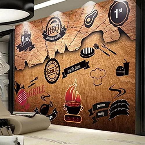 Cajgvavj Papier Peint Mural Auto-Adhésif Personnalisé Nostalgique Rétro Bois Barbecue Restaurant Outillage Fond Décor Mural Papel De Parede 3 D