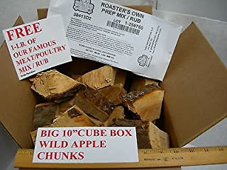 "Big 10"" Cube Box Wild Applewood Chunks Chips BBQ Smoker Grilling Restaurant Use,APPLEWOOD with Free RUB for Pork OR Beef Ribs Brisket Steak"