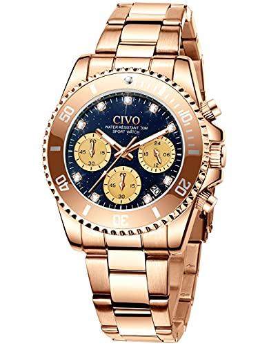 CIVO Reloj Mujer Oro Rosa Acero Inoxidable Impermeable Reloj Cronógrafo de Cuarzo para Mujer Relojes de Pulsera Analogico con Cara de Diamante Cielo Estrellado para Mujer