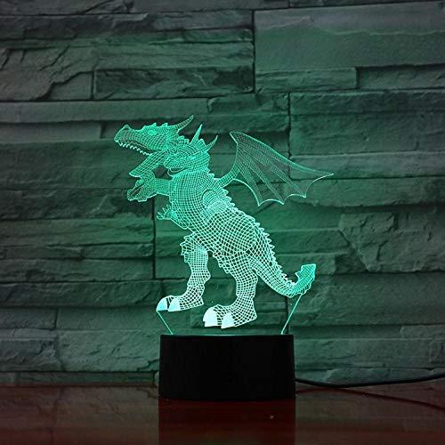 ZZFGXX bedlampje driekoppige draak Quitola touch afstandsbediening/kleur veranderende licht/nachtlicht/nieuwjaarsgeschenk / 3D-fantoomlicht Raak deze aan.