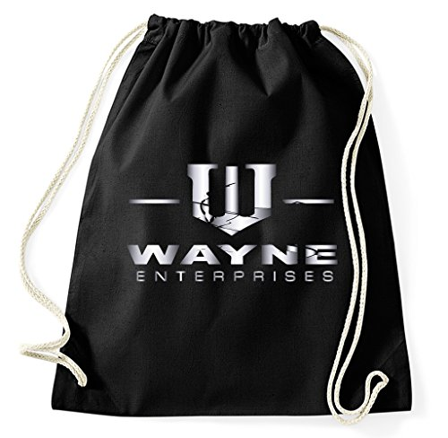 Styletex23 Wayne Enterprises Logo Turnbeutel Sportbeutel, schwarz