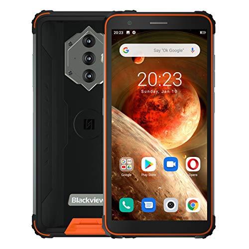 Blackview BV6600 Outdoor Smartphone ohne Vertrag, 8580mAh Akku (Rückwärtsladung), 5.7'' HD + IP68 und IP69K Wasserdichtes Stoßfestes Handy Android 10.0, Octa Core 4GB + 64GB, 16MP Kamera NFC Orange