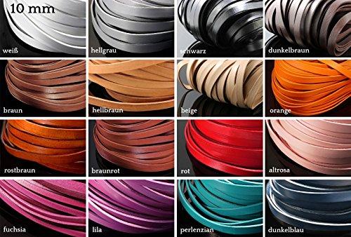 INWARIA Lederband flach 3/5/10/15 mm 1 m Lederriemen Rindsleder Echt Leder Band, LB-20, weiß, 10 mm
