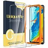 [3 Pack] UniqueMe Compatible con Huawei P30 Lite / P30 Lite New Edition Protector de Pantalla, Vidrio Templado [9H Dureza] [Marco de Alineación] HD Film Cristal Templado