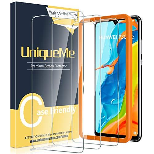 [3 pezzi] UniqueMe Vetro Temperato compatibile con Huawei P30 Lite/P30 Lite New Edition con strumento di installazione, [Durezza 9H] Pellicola Protettiva compatibile con P30 Lite Pellicola.