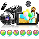 Camcorder Video Camera Full HD 1080P 30FPS 24.0MP 18X Digital Zoom Vlogging Camera for YouTube with 270 Degree Rotation 3 Inch Screen and 10 Batteries