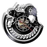 YYYFF Perro Golden Retriever con Corazones de Amor Reloj de Pared con Disco de Vinilo Vintage Reloj de Pared con Disco...