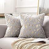 MIULEE Bronzing Feder Kissenbezug Buchstabe Kissenhülle Dekorative Kurzes Haar Dekokissen mit Reißverschluss Sofa Schlafzimmer 18 x 18 Inch 45 x 45 cm 2er Set Grau