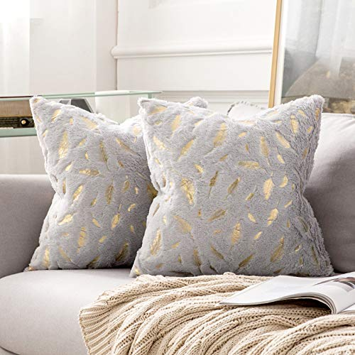 MIULEE Gold Feather Cushion Covers Fluffy Throw Pillow Covers Faux Fur Soft Decorative Square Plush Case for Livingroom Sofa Bedroom 18 x 18 Inches 45 x 45 cm Pack of 2 Silver