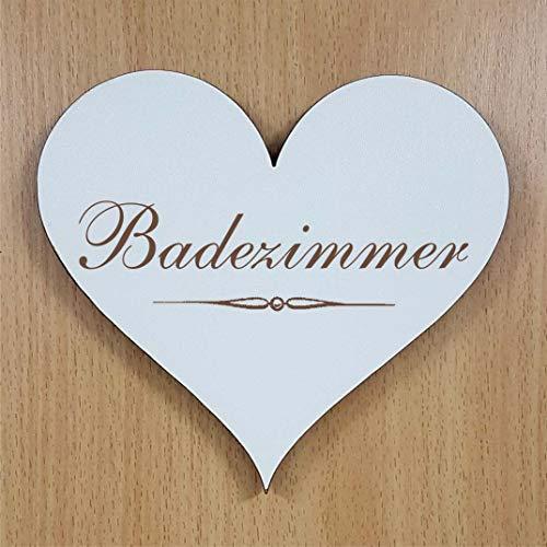 BADEZIMMER Herz SCHILD ca. 13 x 12 cm - selbstklebendes Bad Türschild