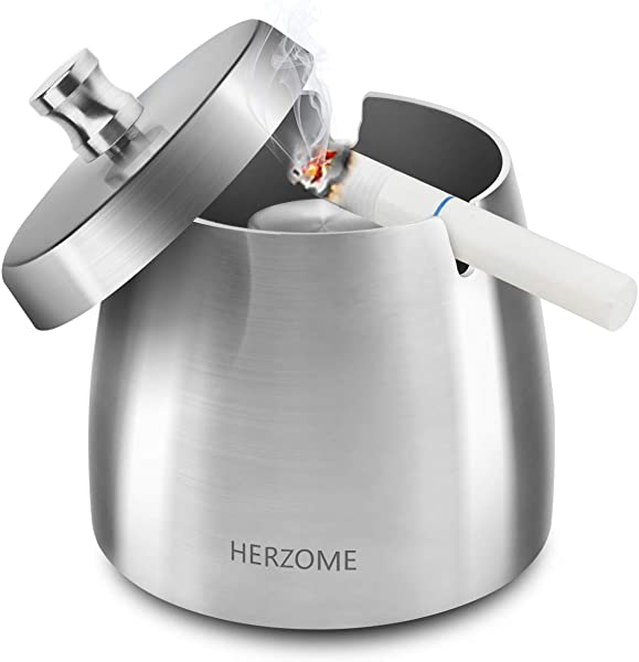 HERZOME Outdoor Ashtray With Lid Tabletop Stainless Steel Ashtray For Indoor Ash Holder For Smokers Desktop Ash Tray For Home Office Patio