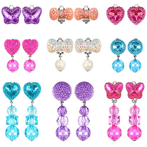 Hicarer 9 Pairs Girls Clip-on Earrings Pretend Princess Play Earrings Jewelry Set (Style 1)