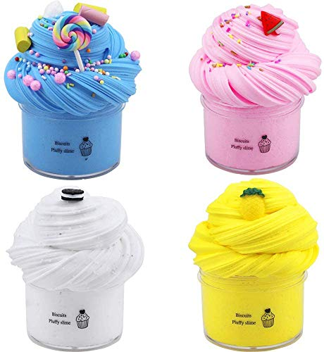 Luckyrainbow 4 Pack Butter Slime Kit, with Yellow Color Pineapple Slime, Pink Watermelon Slime, Coffee Slime, Blue Candy Slime and White Slime Super Soft & Non-Sticky Fuffly Clay, DIY Sludge Toy Gift