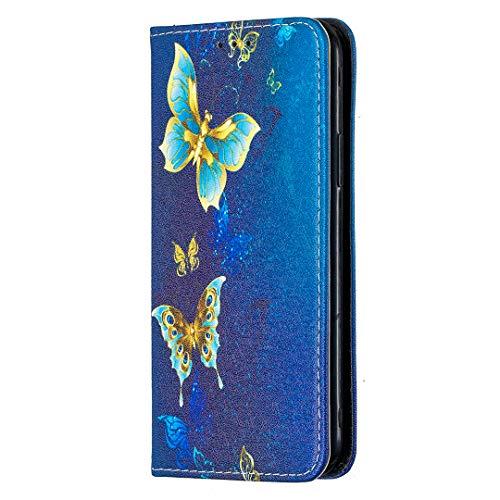 Schutzhülle für Nokia G20/Nokia G30, magnetisch, Leder, Klapphülle, mit Ständer, Kartenfächern, TPU-Stoßschutz, stoßfeste Schutzhülle für Nokia G20/G30, blauer Schmetterling