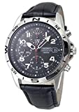 SEIKO クロノグラフ 腕時計 本革ベルトセット 国内セイコー正規流通品 ブラック ミリタリークロノ SND375P-BK 並行輸入品