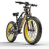 Extrbici Bicicleta Eléctrica de Montaña para Adultos 750W 48V 17Ah Li-Ion Neumáticos de 26'' Pulgadas Doble Suspensión Velocidad Máxima 31MPH con Guardabarros XF900 Amarillo