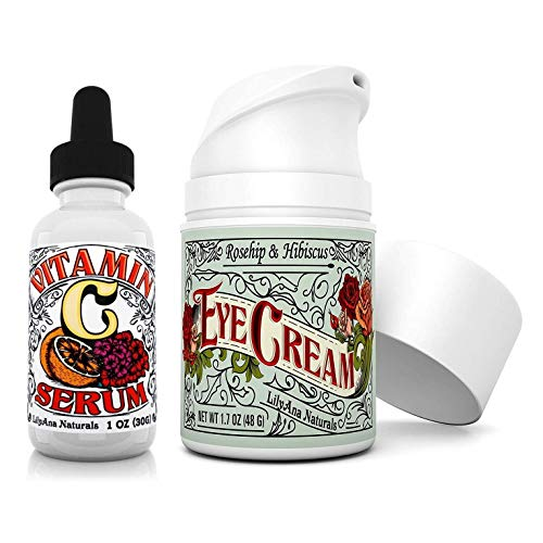 LilyAna Naturals Vitamin C Serum 1 oz and Eye Cream 1.07 oz Anti Aging Bundle