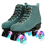 Comeon Classic Roller Skates,Unisex High-top 4 Wheel Roller Skates Double Row Roller Sskates for Boys and Girls (Blue Flash Wheel,US:10)