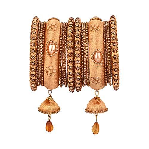 Efulgenz Indisches Armreif-Set mit Zirkonia-Kristallen, Kundan-Seidenfaden, Quasten, Armreif, Schmuck für Frauen und Mädchen (18 Stück), Metall, nicht bekannt,
