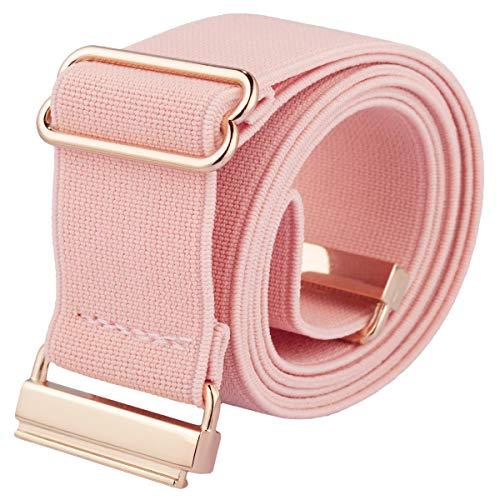 Samtree Adjustable Stretch Elastic Belt for Women, Lightweight No Show Flat Buckle Cinch Waist Belt for Jeans Dresses, Pink