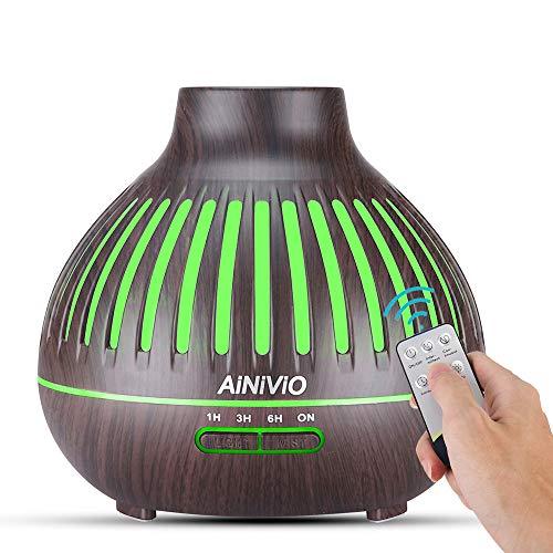 Aroma Diffuser, AiNiViO 400ml Luftbefeuchter Ultraschall Fernbedienung Vernebler Raumbefeuchter Elektrisch Duftlampe Öle Diffusor mit 7 Farben LED für Raum,Büro,Yoga,Spa,usw