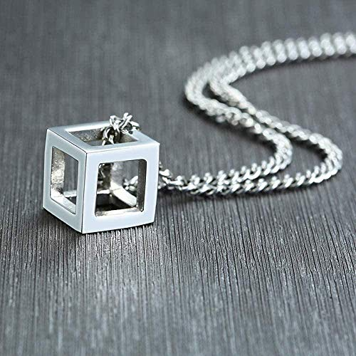 Yiffshunl Necklace Special Cube Shape Pendant Necklace for Industrial Style Male Necklace Stainless Steel Casual Jewelry with 24 Curb Chains Necklace Gift