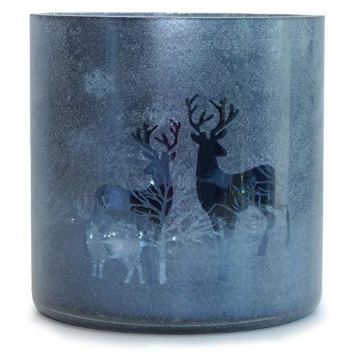 Voß Windlicht 'Hirsch' Blau Silber – edler Kerzenhalter aus Glas - Zylinder Moderne Weihnachtsdeko - weihnachtliche Tischdeko