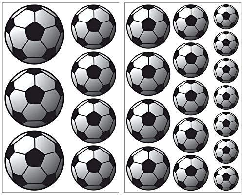 Samunshi® Fussball Set Aufkleber 23-teiliges Set Mehrfarbig Sticker Autoaufkleber Deko in 3 Größen (2x16x26cm Mehrfarbig)
