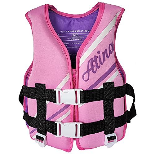 YUYDYU Chaleco de natación para niños, chaleco flotante de neopreno ajustable, ayuda para la natación para niños y niñas, 5 a 10 años, peso inferior a 30 kg