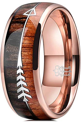 THREE KEYS JEWELRY 8mm Rose Gold Tungsten Wedding Ring with Koa Wood Zebra Wood Two Arrows Inlay Dome Hunting Ring Wedding Band Engagement Ring Size 14