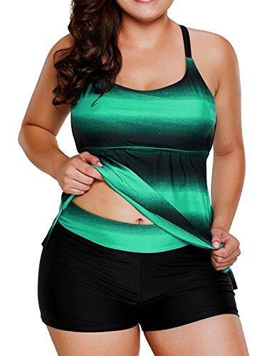 Dearlovers Women's Crisscross Back Color Block Two Piece Tankini Bathing Suits Swimwear X-Large Size Green