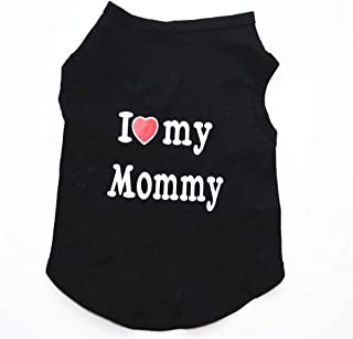I love my mommy - Dress/ Shirt/ Vest /Costume for Dogs and Cats- Black/Red, Large