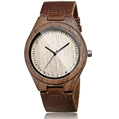 Natural Walnut Case:This minimalism design captures the natural essence of traditional walnut, with a light, subtle aroma and glass front for protection. Imported Japanese Quartz Movement:Quartz movement operates on a battery power source, which offe...