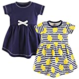 Touched by Nature Girls' Organic Cotton Short-Sleeve Dresses, Lemons, 0-3 Months